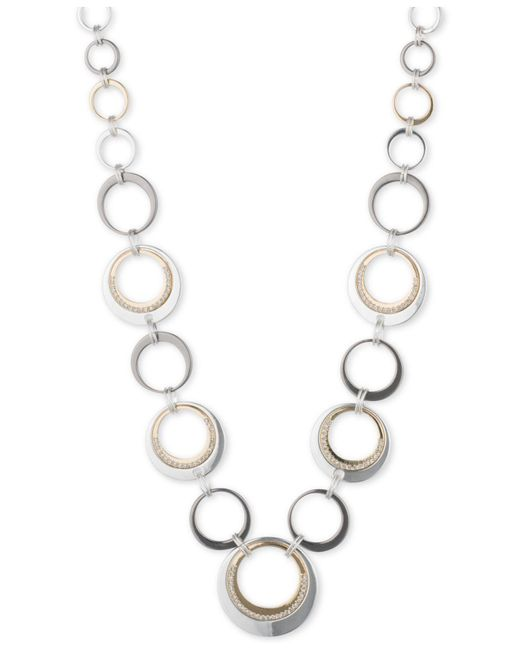 Nine West - Metallic Tri-tone Circle Collar Necklace - Lyst