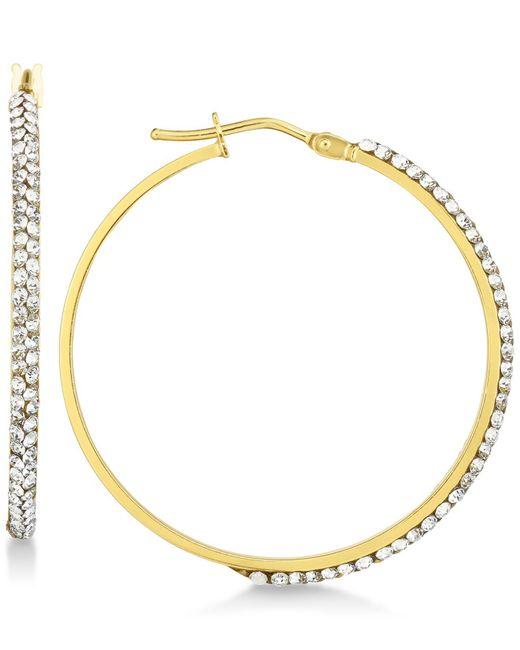 Macy S Metallic Swarovski Crystal Hoop Earrings In 14k Gold White