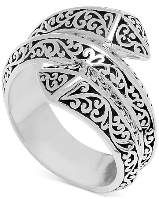 Lois Hill Metallic Filigree Pyramid Wrap Ring In Sterling Silver
