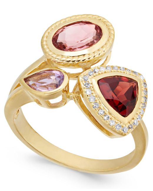 Macy's - Metallic Multi-gemstone (2-1/8 Ct. T.w.) & Diamond (1/10 Ct. T.w.) Ring In 14k Gold-plated Sterling Silver - Lyst
