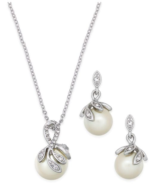 Charter Club - Metallic Silver-tone Pavé Imitation Pearl Pendant Necklace And Matching Drop Earrings Set - Lyst