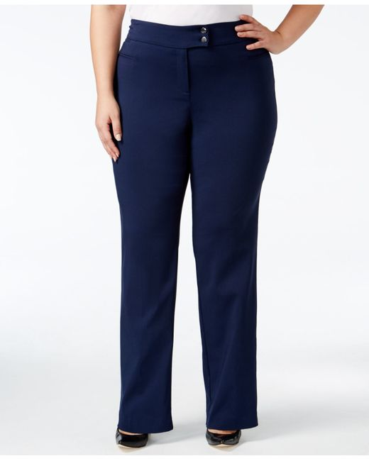 Style & Co. | Blue Plus Size Tummy-control Straight-leg Trousers | Lyst