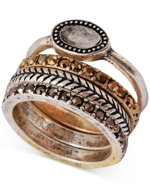Lucky Brand - Metallic Two-tone Organic Stone Stack Ring - Lyst