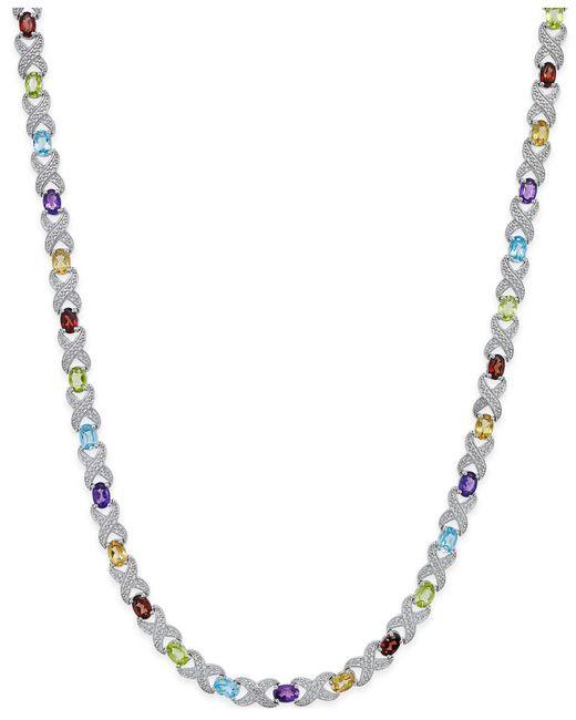 Macy's - Metallic Multi-gemstone Collar Necklace (18 Ct. T.w.) In Sterling Silver - Lyst