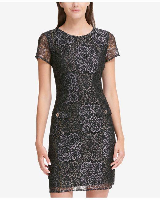 84172904d0b ... Tommy Hilfiger - Black Floral Lace Shift Dress - Lyst