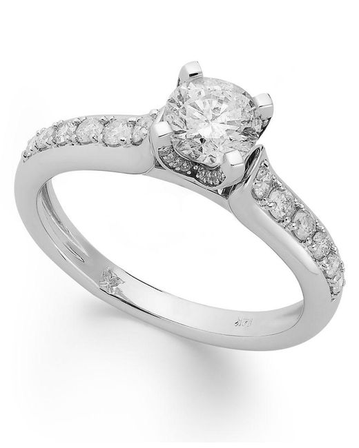 Macy's | Metallic Diamond Engagement Ring In 14k White Gold Or 14k Gold (1 Ct. T.w.) | Lyst