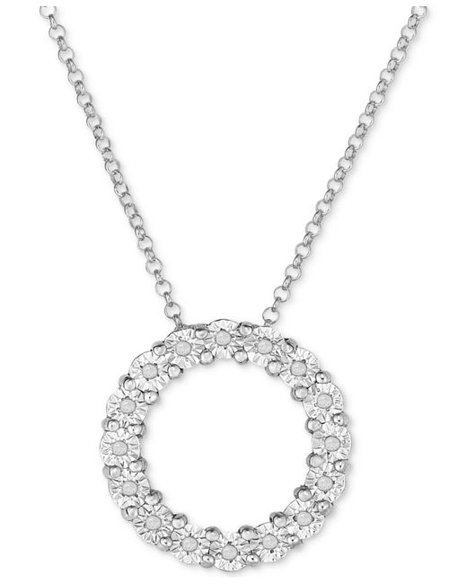 Macy's - Metallic Diamond Circle Miracle Plate Pendant Necklace (1/10 Ct. T.w.) In Sterling Silver - Lyst