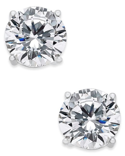 Joan Boyce - Metallic Cubic Zirconia Stud Earrings - Lyst