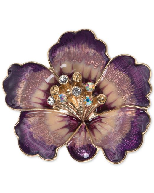 Anne Klein - Gold-tone Purple Crystal Flower Pin - Lyst