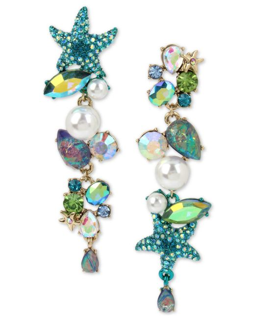 Betsey Johnson - Blue Gold-tone Crystal, Pavé & Imitation Pearl Sea-themed Mismatch Earrings - Lyst