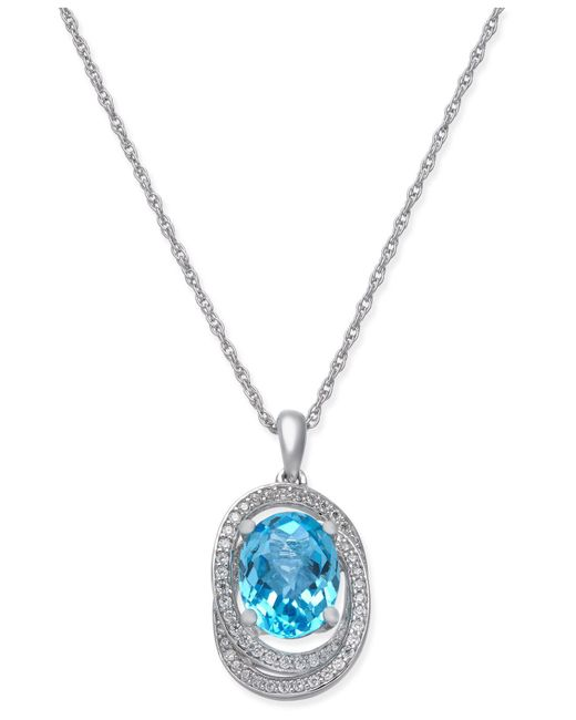 Macy's - Blue Topaz (2-1/4 Ct. T.w.) & Diamond (1/5 Ct. T.w.) Pendant Necklace In 14k White Gold - Lyst