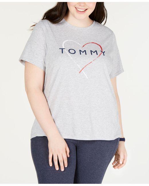 a92a7641ab9 Tommy Hilfiger - White Plus Size Logo-print T-shirt - Lyst ...