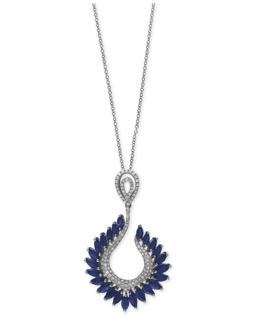Effy Collection | Blue Sapphire (4-3/8 Ct. T.w.) And Diamond (1/2 Ct. T.w.) Pendant Necklace In 14k White Gold | Lyst