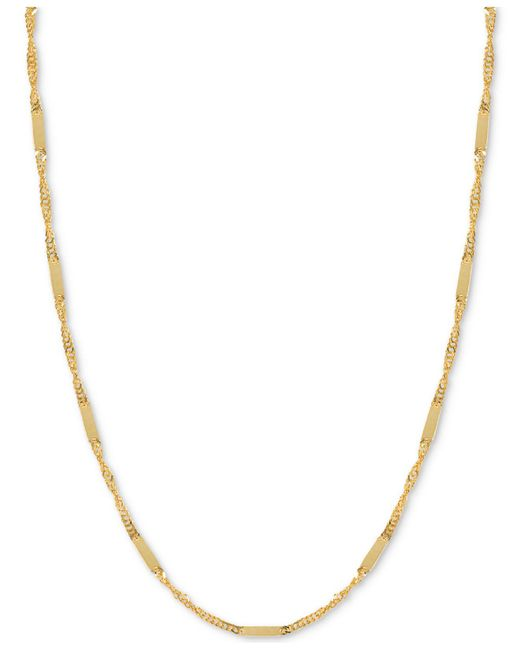 Macy's - Metallic Flat Bar Singapore Chain Necklace In 14k Gold - Lyst