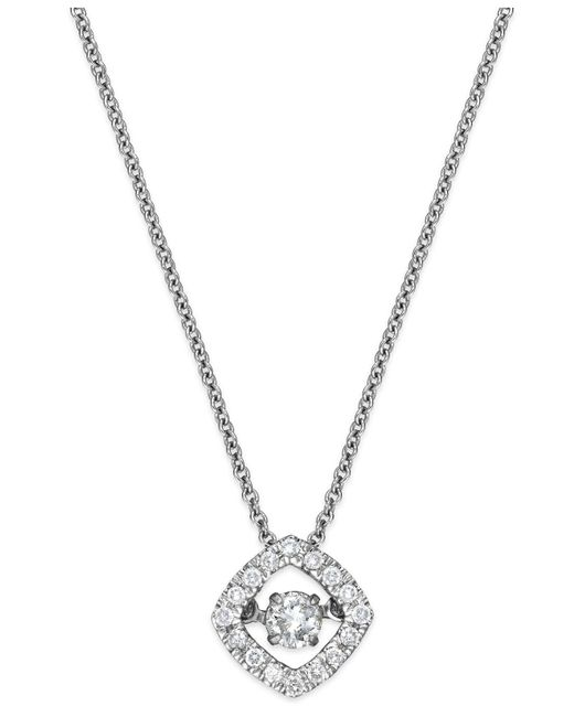 Twinkling Diamond Star - Metallic Diamond Square Pendant Necklace In 10k White Gold (1/4 Ct. T.w.) - Lyst