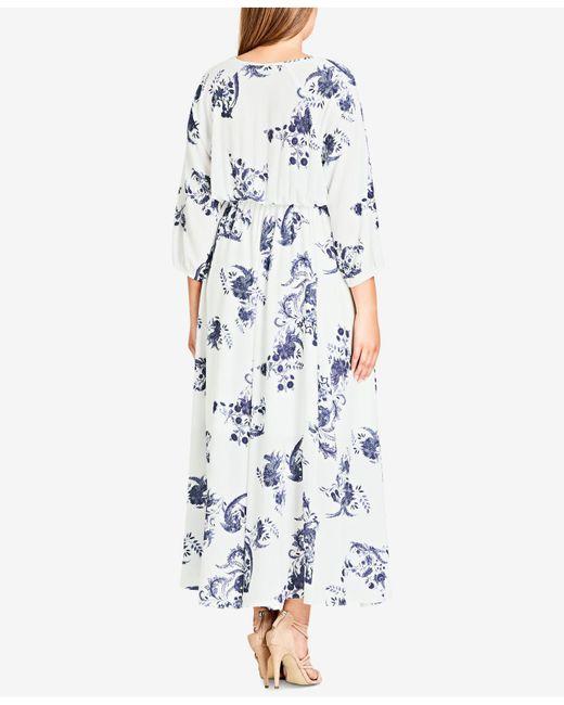 Lyst City Chic Trendy Plus Size Dolman Sleeve Maxi Dress In Blue