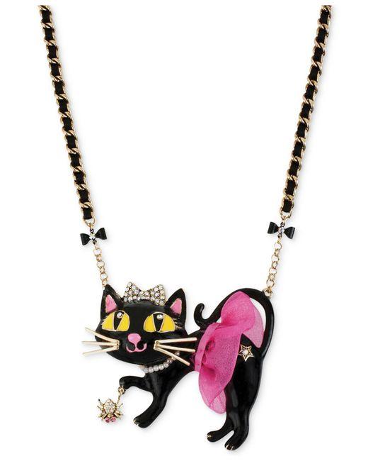 Betsey Johnson - Metallic Antique Gold-tone Tutu Cat Pendant Necklace - Lyst