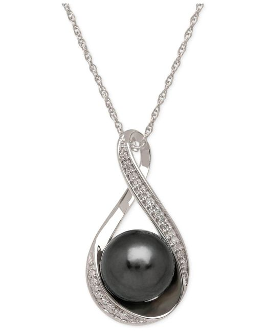 Macy's - Black Cultured Tahitian Pearl (9mm) And Diamond Accent Pendant Necklace In 14k White Gold - Lyst