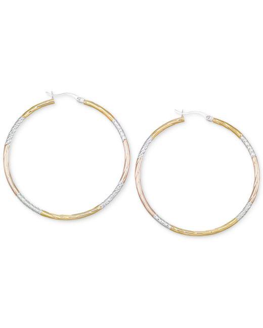 Macy's - Metallic Diamond-cut Hoop Earrings In 14k Tri-tone Vermeil - Lyst