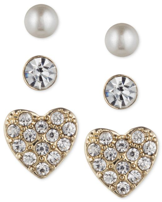 Lonna & Lilly - Metallic Trio Set Of Small Stud Earrings - Lyst