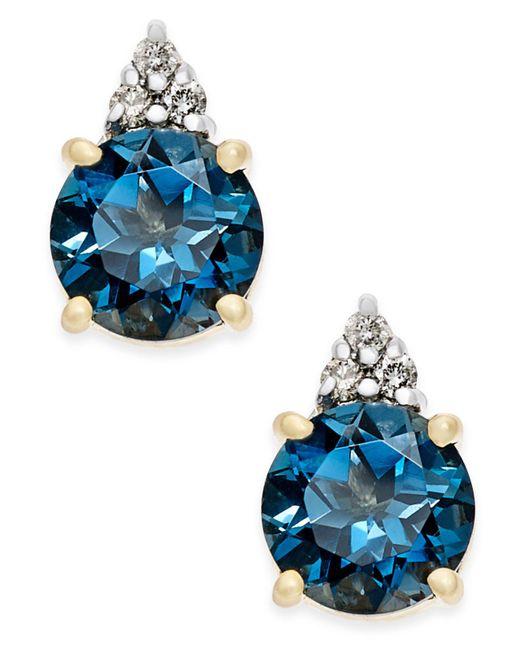 Macy's - London Blue Topaz (2 Ct. T.w.) And Diamond Accent Stud Earrings In 14k Gold - Lyst