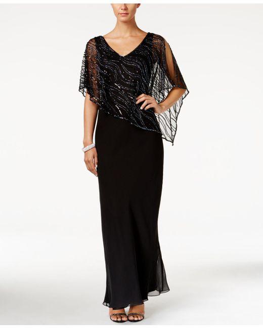 J Kara - Black Embellished Illusion-overlay Crepe Gown - Lyst