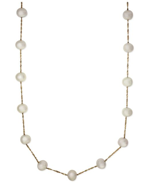 Effy Collection - Metallic Effy Cultured Freshwater Pearl Station Necklace In 14k Gold (5-1/2mm) - Lyst