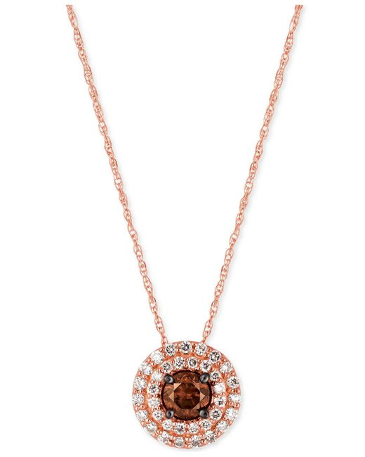 Le Vian   Pink Chocolate And White Diamond Circular Pendant Necklace (1/2 Ct. T.w.) In 14k Rose Gold   Lyst