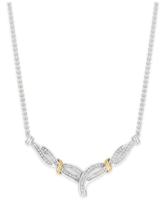 Macy's - Metallic Diamond Crossover V-necklace In Sterling Silver And 14k Gold (1/4 Ct. T.w.) - Lyst