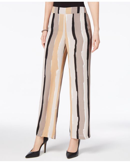 Nine West | Natural Abstract-stripe Wide-leg Trousers | Lyst