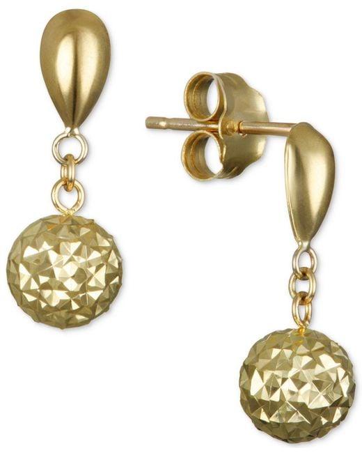 Macy's | Metallic Textured Drop Earrings In 10k Gold | Lyst