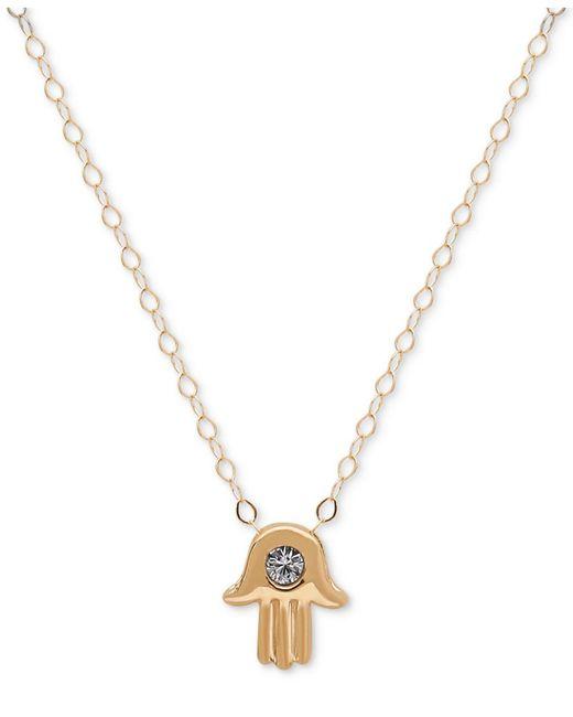 Macy's   Metallic Cubic Zirconia Hamsa Pendant Necklace In 10k Gold   Lyst