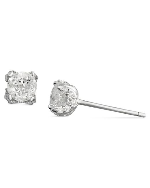 Macy's Metallic Diamond Pave Stud Earrings In 14k White Gold (3/4 Ct. T.w.)