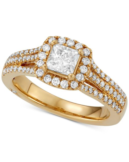 Marchesa - Metallic Celeste Halo By Certified Diamond Engagement Ring (1-1/5 Ct. T.w.) In 18k White, Yellow Or Rose Gold, Created For Macy's - Lyst