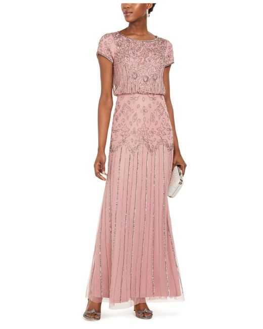 Adrianna Papell Pink Beaded Short-sleeve Gown