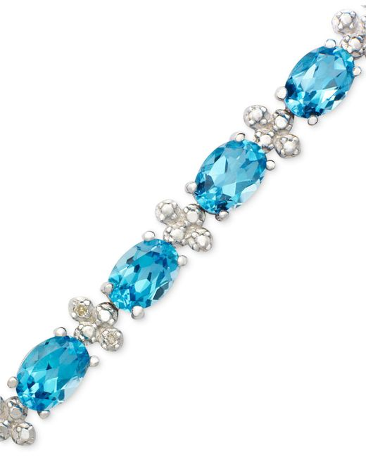 Macy's - Sterling Silver Bracelet, Blue Topaz (14-1/2 Ct. T.w.) And Diamond Accent - Lyst