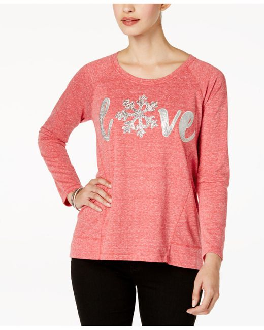 Style & Co.   Pink Embellished Graphic Sweatshirt   Lyst