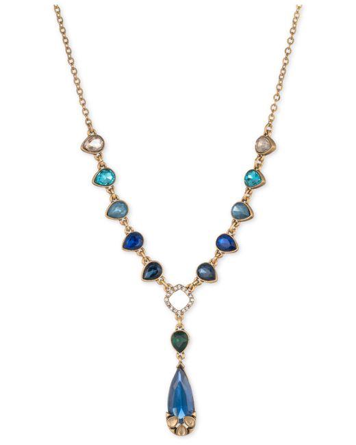 Carolee | Metallic Gold-tone Multi-stone Teardrop & Pavé Lariat Necklace | Lyst