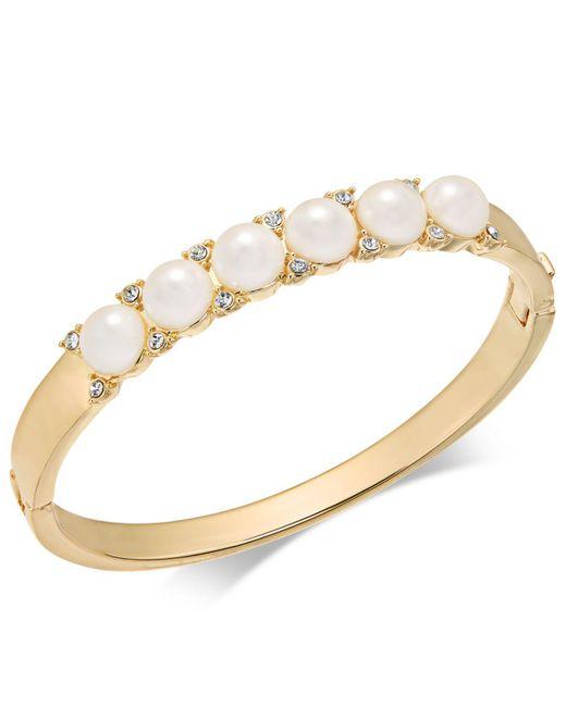 Charter Club | Metallic Gold-tone Pavé & Imitation Pearl Hinged Bangle Bracelet | Lyst