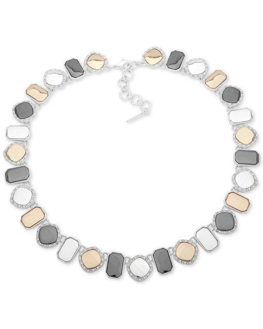 "Nine West - Metallic Tri-tone Pavé Collar Necklace, 16"" + 2"" Extender - Lyst"