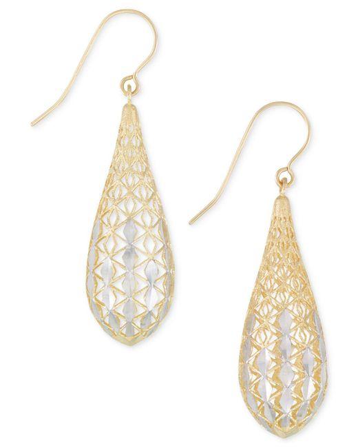 Macy's - Metallic Teardrop Openwork Two-tone Drop Earrings In 14k Gold And White Gold - Lyst