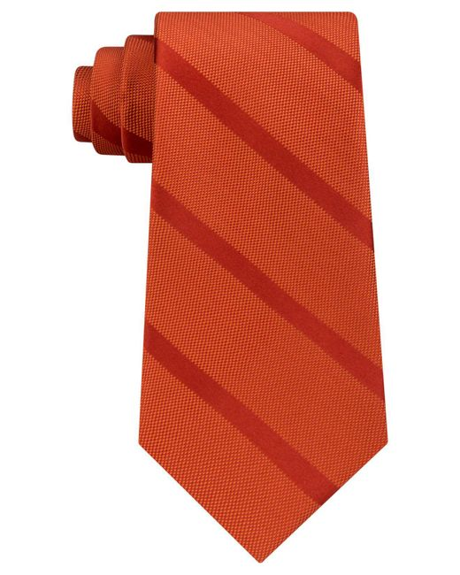 Tommy Hilfiger Orange Men's Solid Textured Stripe Silk Tie for men