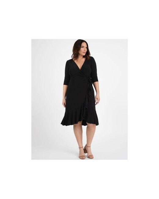 Kiyonna Black Plus Size Whimsy Wrap Dress