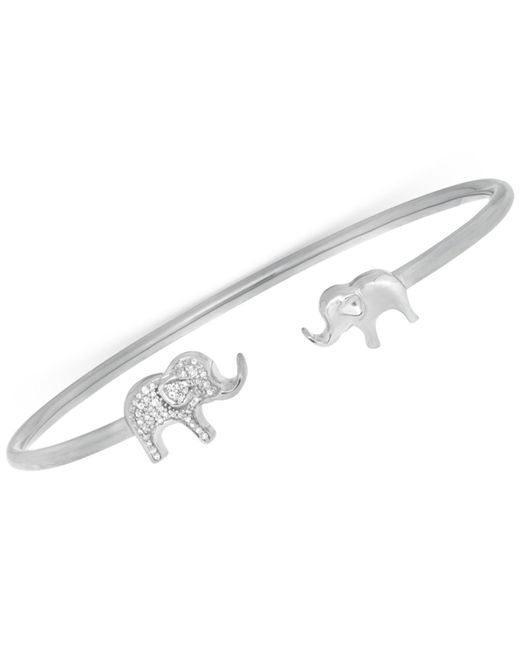 Wrapped in Love | Metallic Diamond Elephant Open Cuff Bangle Bracelet (1/6 Ct. T.w.) In Sterling Silver | Lyst