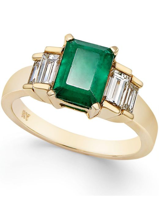 Macy's - Green Emerald (1-5/8 Ct. T.w.) And Diamond (3/4 Ct. T.w.) Ring In 14k Gold - Lyst