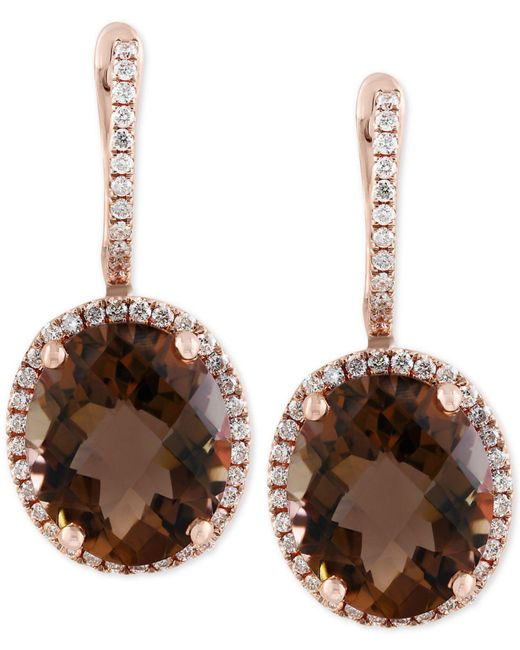 Effy Collection - Multicolor Sienna By Effy® Smoky Quartz (7-7/8 Ct. T.w.) And Diamond (3/8 Ct. T.w.) Drop Earrings In 14k Gold - Lyst
