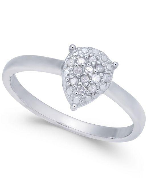 Macy's | Metallic Diamond Cluster Teardrop Ring (1/10 Ct. T.w.) In Sterling Silver | Lyst