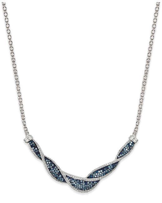 Wrapped in Love - Metallic White And Blue Diamond Twist Necklace In Sterling Silver (1 Ct. T.w.) - Lyst
