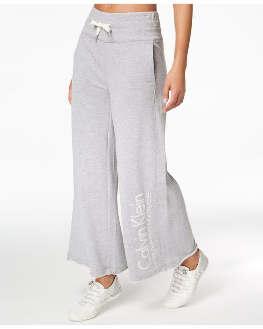 CALVIN KLEIN 205W39NYC - Gray Performance High-waist Wide-leg Ankle Pants - Lyst