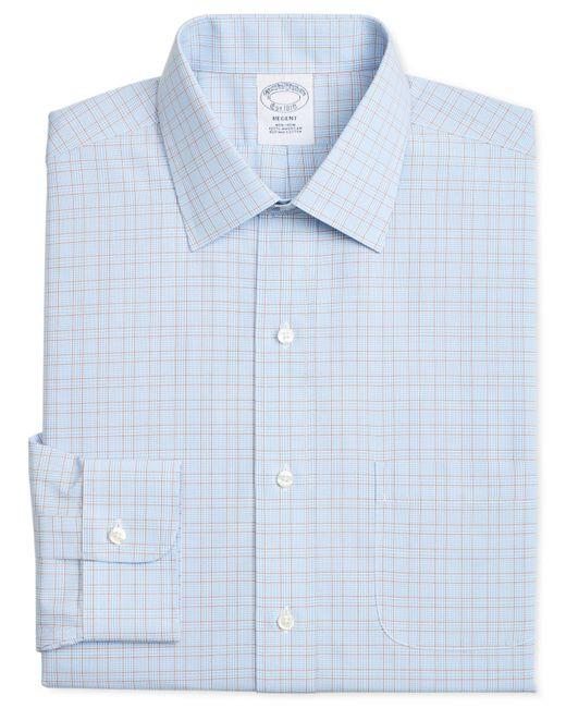 Brooks Brothers - Regent Slim-fit Non-iron Blue Brown Overcheck Dress Shirt for Men - Lyst